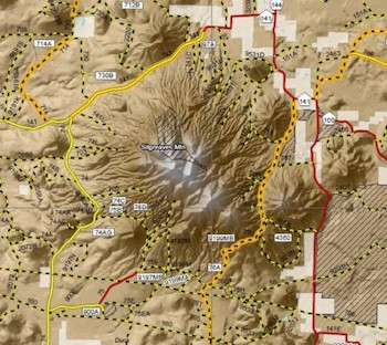 A section of a digital Travel Map displaying more extensive cartographic design intended to better assist motorists in navigating forest roads. Courtesy of Kaibab National Forest.